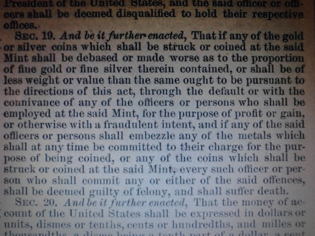 The Coinage Act of April 2, 1792 (1 Stat. 246) Statute I. April 2, 1792 Chapter XVI